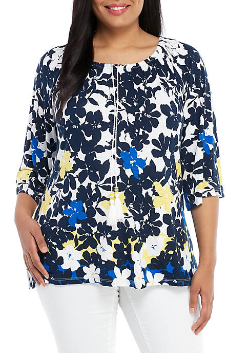 Plus Size 3/4 Sleeve Tropical Top
