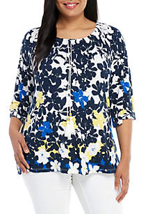 Ruby Rd Plus Size 3/4 Sleeve Tropical Top
