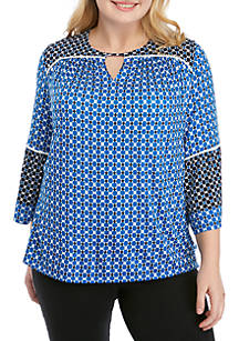 6adfb8e0e41 Ruby Rd Plus Size Cabana Club Geometric Sharkbite Top