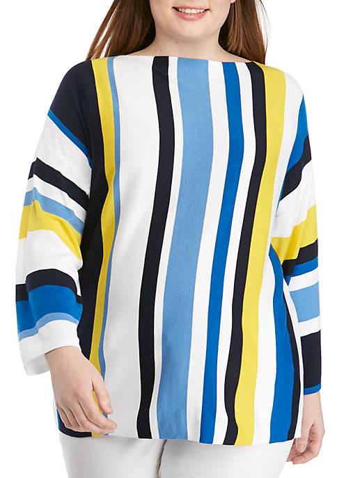 Plus Size Cabana Club Boat Neck Multi Stripe Pullover Sweater