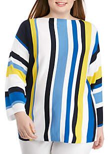 Ruby Rd Plus Size Cabana Club Boat Neck Multi Stripe Pullover Sweater