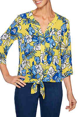 8a73baf953d Ruby Rd Petite Cabana Club Boyfriend Floral Georgette Top ...