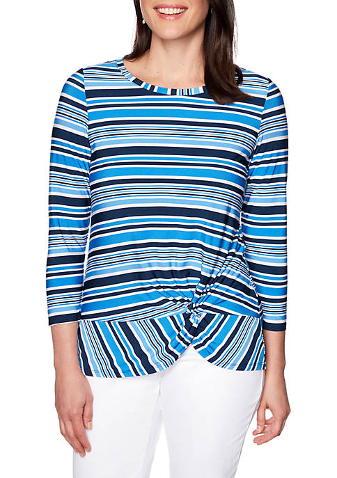 Ruby Rd Petite Cabana Club Scoop Neck Stripe