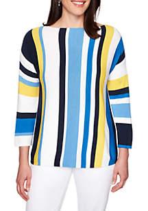 Ruby Rd Petite Boat Neck Multi Stripe Sweater