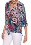 Womens Casual Cool Kaleidoscope Tie Front Woven Top