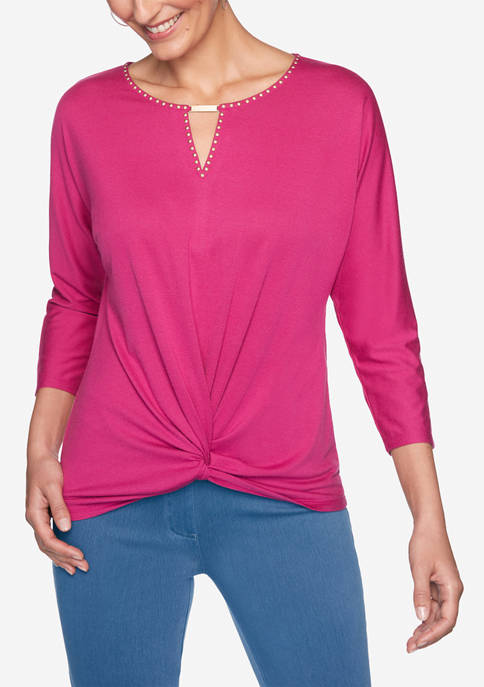 Womens Casual Cool Solid Knot Front Top