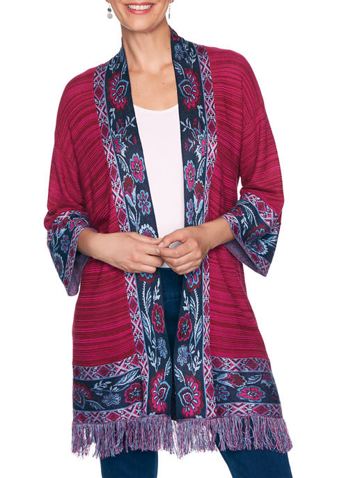 Ruby Rd Womens Casual Cool Floral Jacquard Border