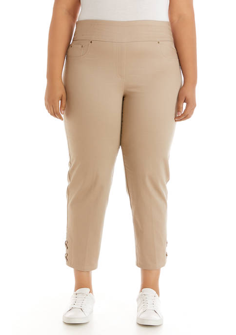 Plus Size Casual Cool Pull On Stretch Twill Pants
