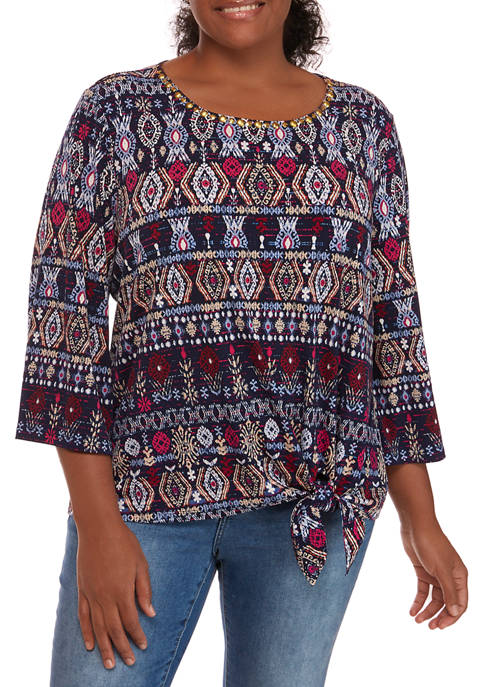 Plus Size Casual Cool 3/4 Sleeve Embellished Neck Top