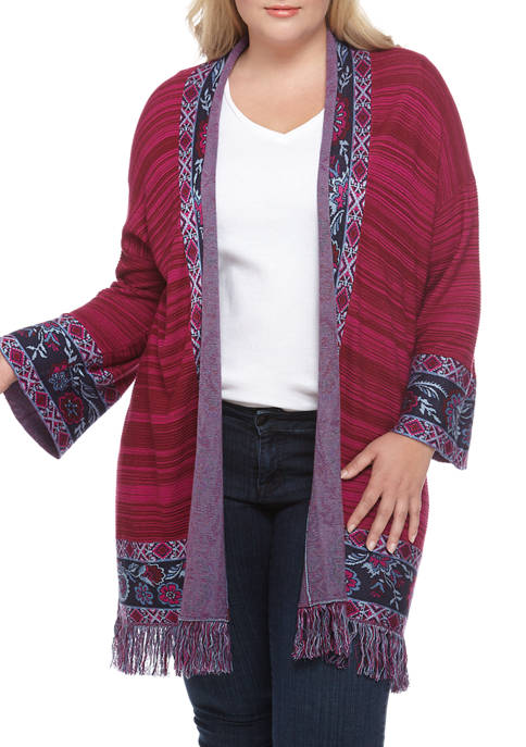 Plus Size Casual Cool 3/4 Sleeve Floral Jacquard Border Cardigan