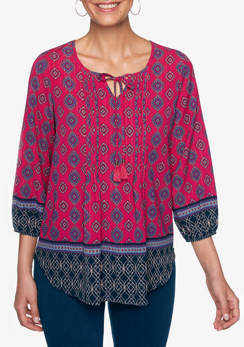 Ruby Rd Petite Casual Cool Split Neck Tassel