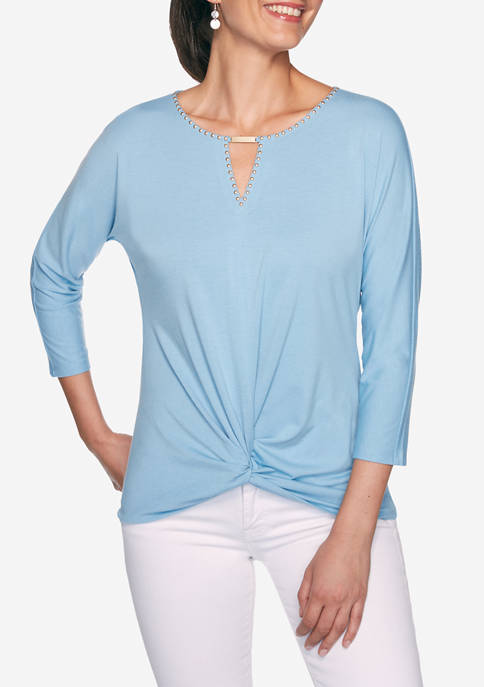 Ruby Rd Petite Casual Cool Embellished Split Neck