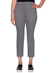 Ruby Rd Geo Turkish Tile Cotton Tech Ankle Pants