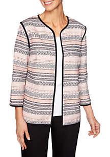 Ruby Rd Geo Stripe Jacquard Jacket