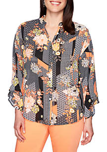 Ruby Rd Geo Floral Patch Work Print Top