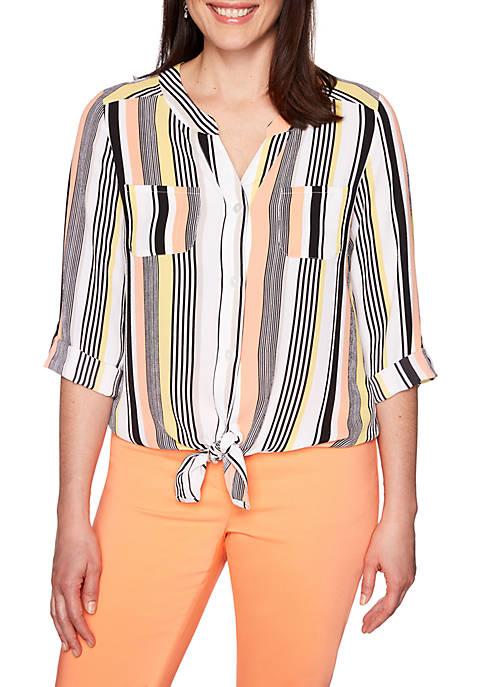 Geo Pajama Stripe Tie Front Top