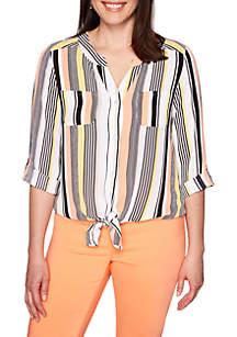 Ruby Rd Geo Pajama Stripe Tie Front Top