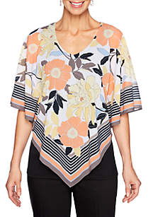 Ruby Rd Geo V Neck Border Scarf Butterfly Top