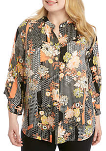Ruby Rd Plus Size Geo Flora Patchwork Top