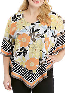 Ruby Rd Plus Size Geo Flora V-Neck Butterfly Scarf Top