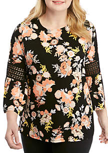 Ruby Rd Plus Size Geo Flora Asian Floral Top