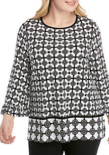 Ruby Rd Plus Size Geo Flora Palazzo Tile Puff Border Print Top