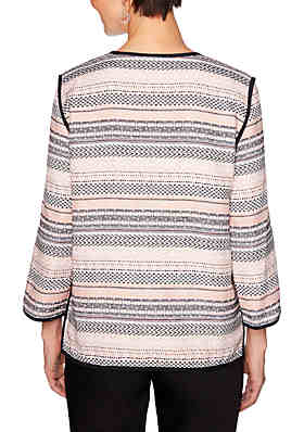 5fec637c04b57 ... Ruby Rd Petite Geo Stripe Jacquard Jacket