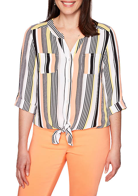 Ruby Rd Petite Geo Pajama Stripe Tie Front