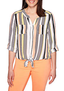Ruby Rd Petite Geo Pajama Stripe Tie Front Top
