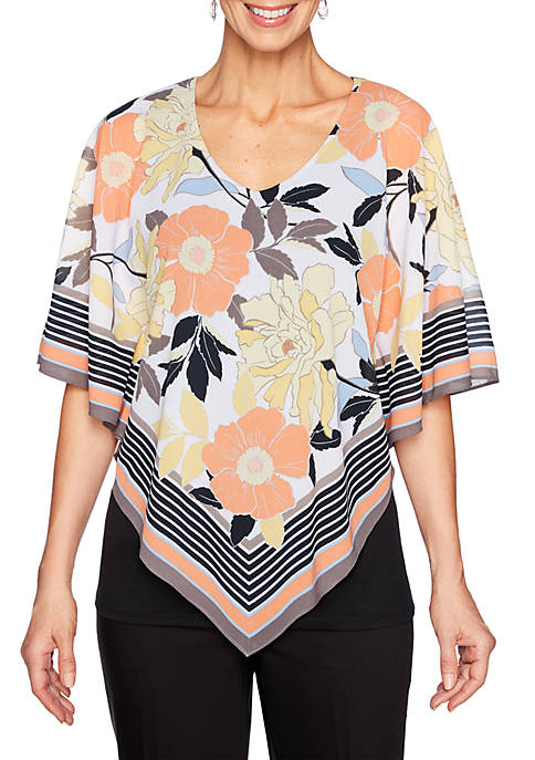 Petite Geo V Neck Border Scarf Butterfly Top