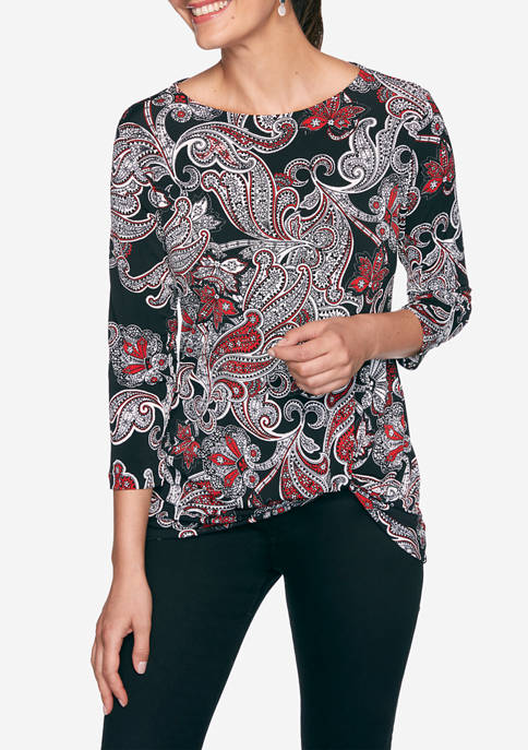 Ruby Rd Petite Must Haves Delicately Paisley Top