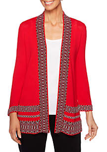 Ruby Rd Petite Must Haves Geometric Border Cardigan