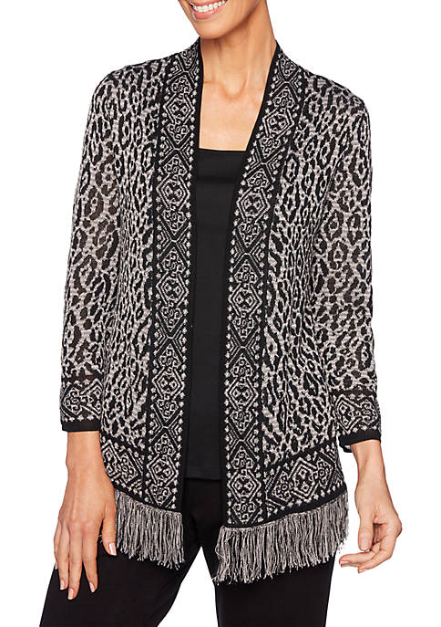Ruby Rd Petite Must Haves Animal Fringe Cardigan