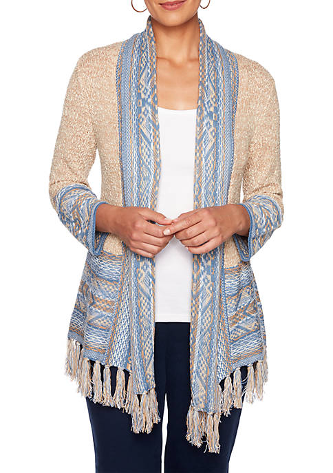 Ruby Rd Petite Must Haves Fringe Border Cardigan