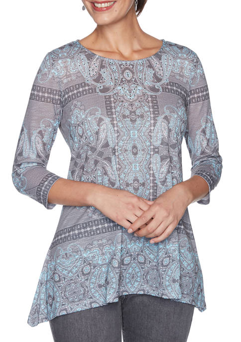 Womens Must Haves Embellished Neck Kaleidoscope Paisley Print Top