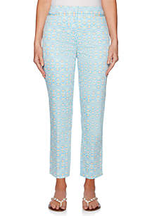 Ruby Rd Martinique Tapestry Print Ankle Pants