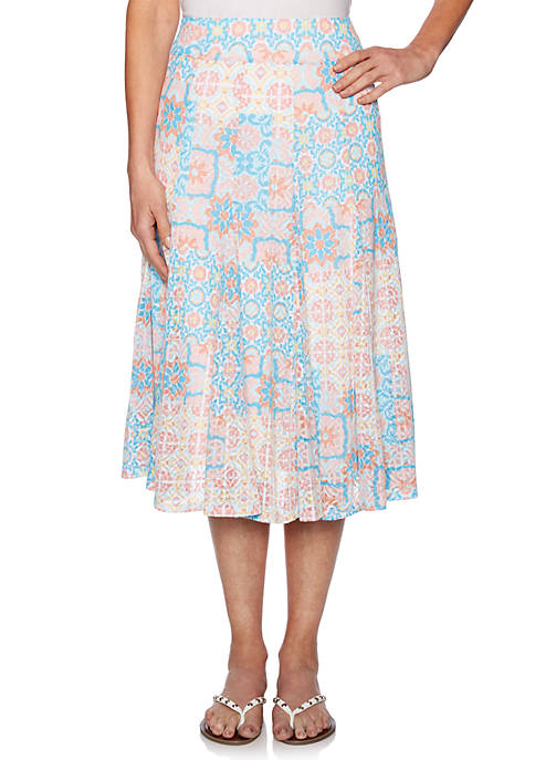 Martinique Pull On Tiles Knit Burnout Skirt
