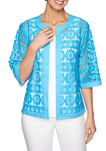 Ruby Rd Martinique Striped Floral Lace Jacket