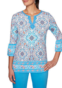 fdbf2fb4c11 ... Ruby Rd Martinique Embroidered Split Neck Border Knit Top