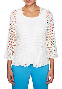 Ruby Rd Martinique Open Front Crochet Cardigan