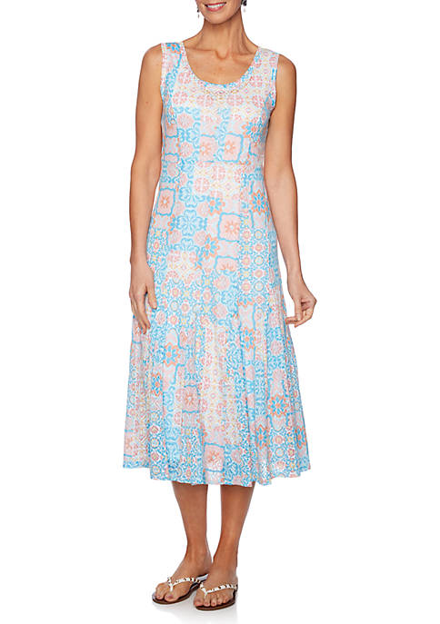 Martinique Scoop Neck Burnout Tile Knit Dress