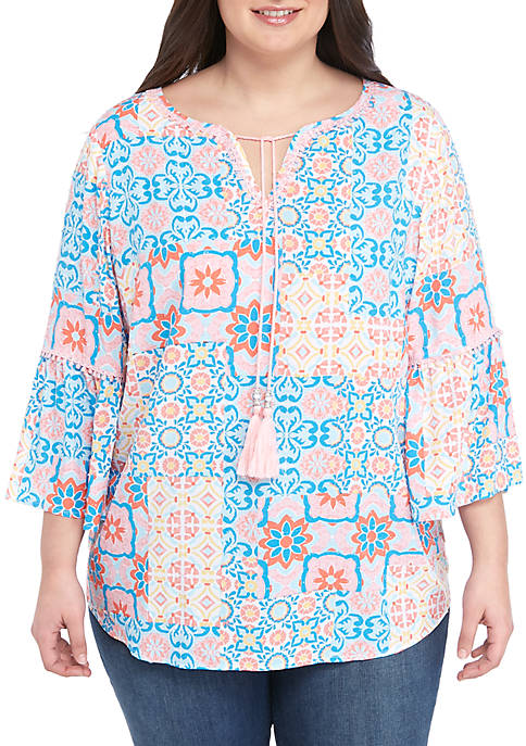 Ruby Rd Plus Size Medallion Bell Sleeve Tunic