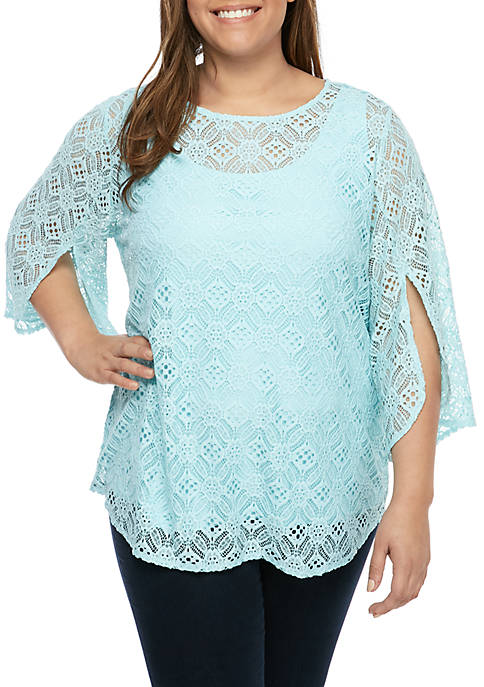 Ruby Rd Plus Size Scoop Neck Floral Lace