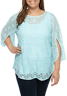 4537f302b71ca ... Ruby Rd Plus Size Scoop Neck Floral Lace Top