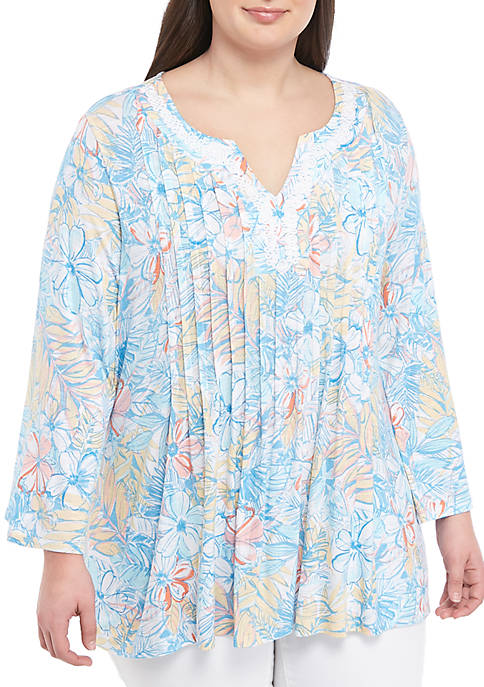 Ruby Rd Plus Size Spit Neck Floral Jersey