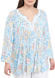 Ruby Rd Plus Size Spit Neck Floral Jersey Top