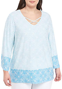 Ruby Rd Plus Size V Neck Color Block Puff Print Top