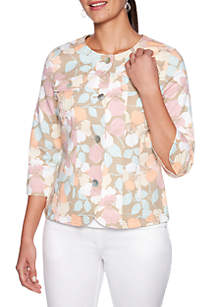 Ruby Rd Coral Surf Floral Cotton Tech Jacket