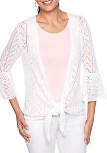 Ruby Rd Coral Surf Pointelle Cardigan Sweater with Tie Front