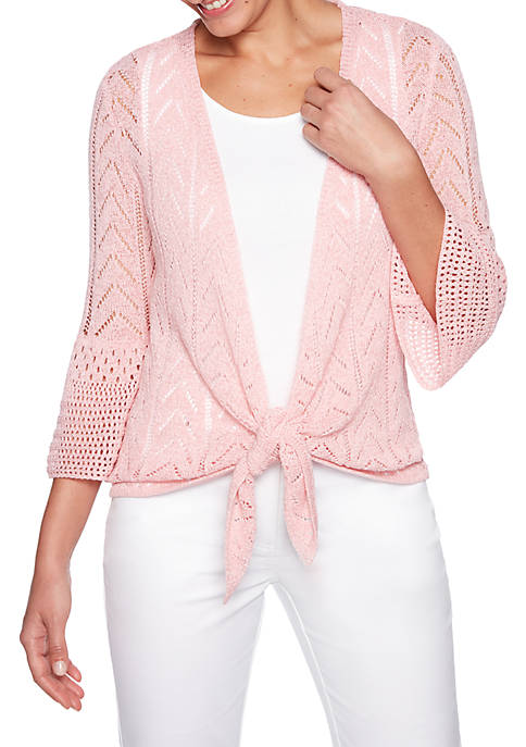 Coral Surf Pointelle Cardigan Sweater with Tie Front